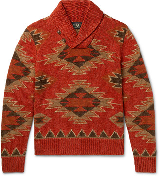 Ralph Lauren RRL Shawl-Collar Intarsia Linen, Cotton, Silk And Wool-Blend Sweater