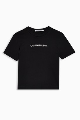 Calvin Klein Womens Black Shrunken Logo T-Shirt By Black