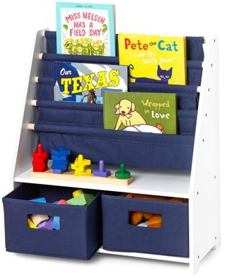Wildkin Kids Fabric Book Rack, 5-Tier with Drawers, Multiple Colors