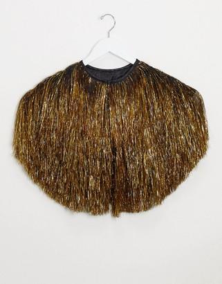 ASOS DESIGN tassel cape in gold