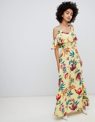 Soaked In Luxury Overlay Maxi Dress In Tropical Print