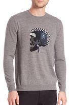 Markus Lupfer Merino Wool Intarsia Knitted Skull Sweater