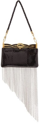 Gucci Broadway Crystal-fringed Watersnake Clutch - Womens - Black Multi