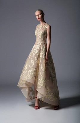 Edward Arsouni Sleeveless Embroidered Gold Hi-Lo Gown
