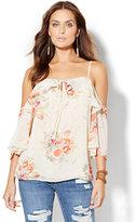 New York & Co. Cold-Shoulder Floral Blouse