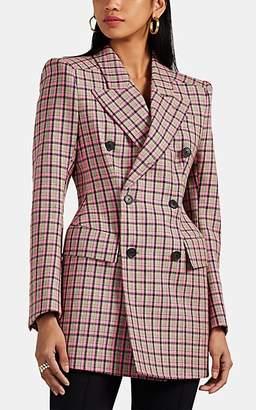 Balenciaga Women's Checked Wool Hourglass Blazer - Gray