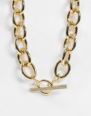 ASOS DESIGN crystal t bar necklace in gold tone