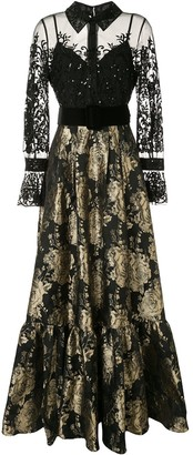Badgley Mischka Embellished Jacquard Shirt Gown