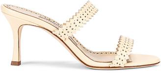 Manolo Blahnik 70 Riesamu Sandal in Cream | FWRD