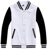 Chouyatou Men's Basic Color-Block Cotton Varsity Letterman Jacket