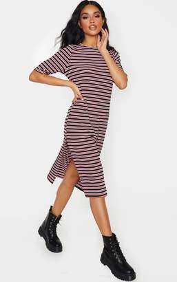 PrettyLittleThing Red Oversized Stripe Short Sleeve Rib Midi Dress