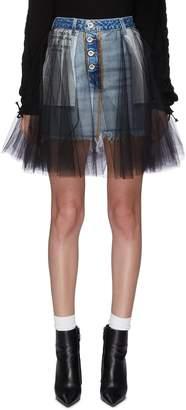 Taverniti So Ben Unravel Project Tulle overlay denim mini skirt