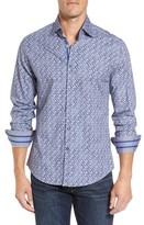 Stone Rose Men's Slim Fit Triangle Print Sport Shirt
