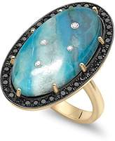 Andrea Fohrman Galaxy 14ct Yellow Gold, Black Rhodium Top Oval with One of a Kind Chrysocolla Black Trim and White Diamond Inlay Ring Size - M 50034-COBD-14YB M