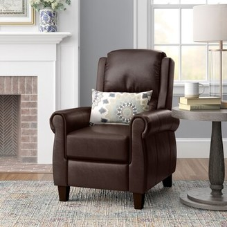 Three Posts Lofton Faux Leather Manual Recliner Upholstery Color: Burgundy Faux Leather