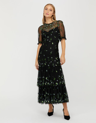 Under Armour Lisbet Sustainable Embroidered Tiered Maxi Dress Black