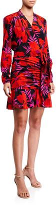 Veronica Beard Lorina Floral-Print Tie-Front Dress