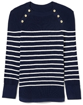 Vince Camuto Striped Button-shoulder Sweater