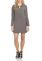 1 STATE 1.state Lace-Up Shift Dress
