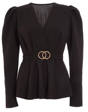 Dorothy Perkins Womens Quiz Black Puff Sleeve Peplum Top, Black