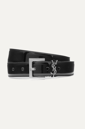 Saint Laurent Embellished Quilted Patent-leather Belt - Black