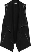 Vince Draped leather-trimmed stretch-felt vest
