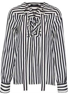 Derek Lam Lace-up Striped Silk-satin Blouse