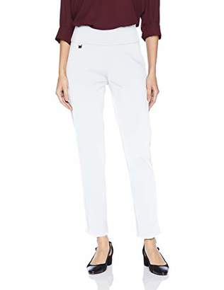 SLIM-SATION Women's Solid Knit Pull on Easy Fit Ankle Pant with Hem Vent