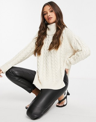 NA-KD oversized high neck cable knitted sweater in off white