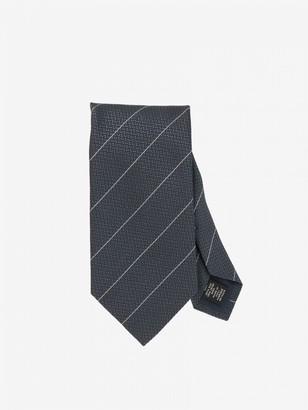 Ermenegildo Zegna Tie In Diagonal Striped Silk