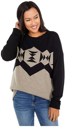 Pendleton Sonora Pullover (Black/Taupe Heather) Women's Sweater