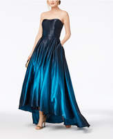 Betsy & Adam Strapless Ombre High-Low Gown