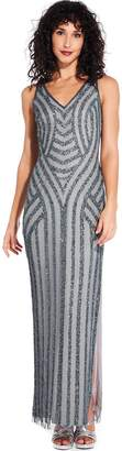 Adrianna Papell Pewter Beaded Long Gown