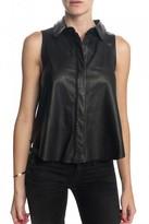 Rag and Bone RAG & BONE Leather Sleeveless Button Down Top Black