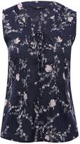 M&Co Petite floral lattice tie front top