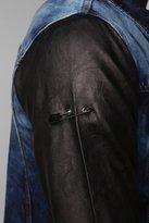 UO Black Apple Pleather Sleeve Denim Trucker Jacket