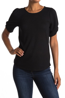 Halogen Stretch Eyelet Puff Sleeve Tee