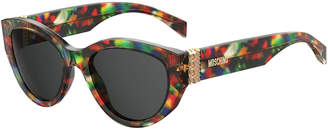 Moschino Round Acetate Sunglasses w/ Chain Temples