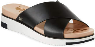 Sam Edelman Audrea Leather Platform Slide Sandals, Black