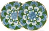 La DoubleJ Set Of Two Mosaic-print Porcelain Dessert Plates - Womens - Blue Multi