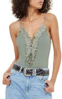 Topshop Sleeveless Floral Applique Bodysuit