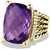 David Yurman Wheaton Ring with Amethyst & Diamonds in Gold
