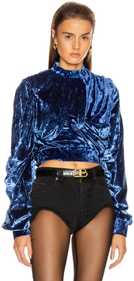 Y/Project Velvet Wrap Top in Royal Blue | FWRD