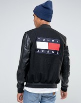 Tommy Jeans Varsity Wool Bomber Faux Leather Sleeves