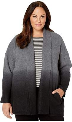 Eileen Fisher Plus Size Ombre Boiled Wool Shawl Collar Kimono Jacket (Ash/Black) Women's Clothing