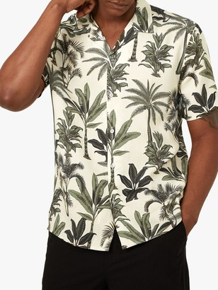 Warehouse Cuban Collar Botanical Print Short Sleeve Shirt, Green Print