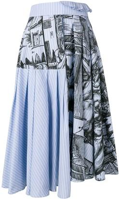 J.W.Anderson Durer scene print striped skirt