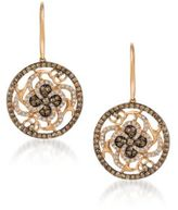LeVian 0.94 TCW Diamonds and 14K Rosegold Chocolatier Medallion Earrings