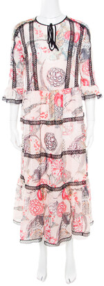 Temperley London Almond Dotted Jacquard Dobby Shire Printed Tiered Midi Dress M