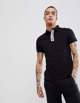Bikkembergs Tape Polo Shirt-Black